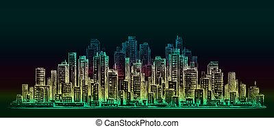 Night city background. Hand drawn illustration