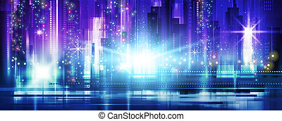 Night city background in vivid colors