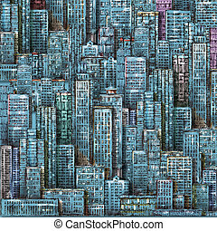 Night city background. Urban landscape with large modern buildings