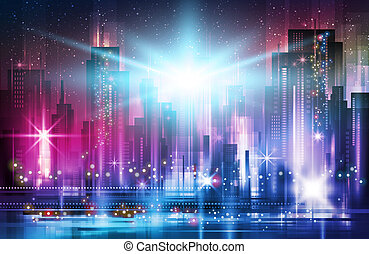 Night city background. Urban town streets skyline. Cityscape silhouettes