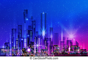 Night city background. Urban town streets skyline, illustration with architecture, skyscrapers, megapolis, buildings downtown