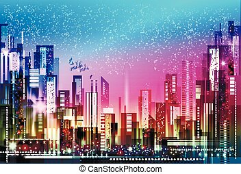 Night city background. Vector illustration