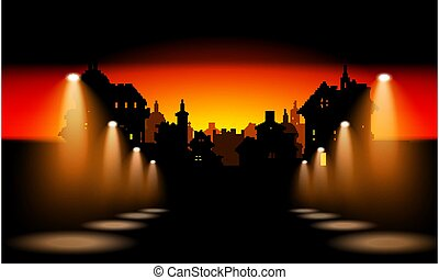 Night City Background With Spotlight