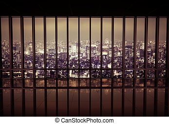 Night city behind the grating - Night city behind the metal ...