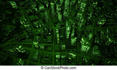 Night city birds eye view night vision