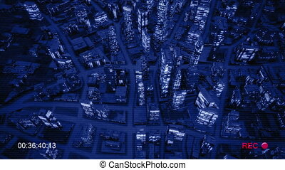 Night city birds eye view night vision for cctv