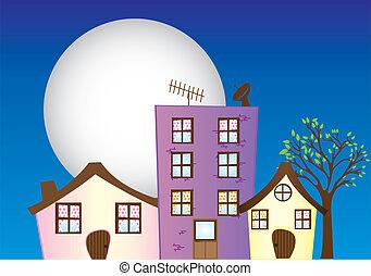 night city cartoon - house, building, church, coffee place ...