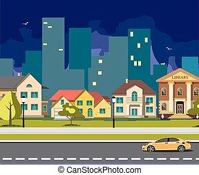 Night city cartoon with road.