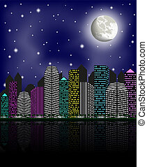 Night city, clear sky and moon, vector illustration