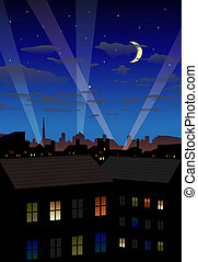 Night city - Detailed vector illustration of illuminated...