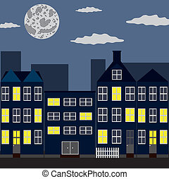 Night city - Group of houses under night sky with moon