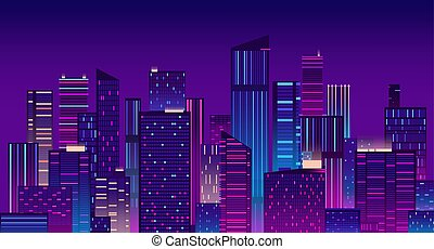 Night city. Colorful new york urban background. Modern cityscape panorama vector illustration