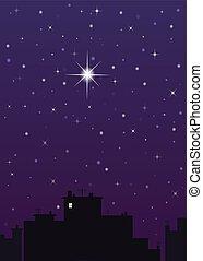 night city, dark blue sky and one big star
