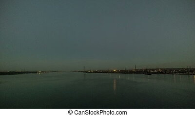 night city Dnipropetrovsk river Dnipro timelapse
