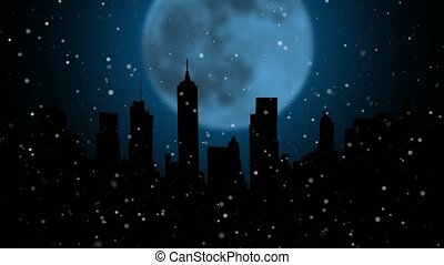 Night city flying snowflakes and fireworks on the background of a moon and inscription happy new year