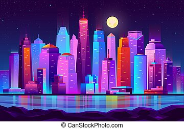 Night city futuristic landscape vector background