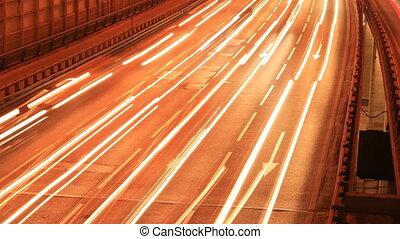 Night city highway timelapse