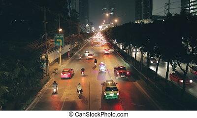night city highway traffic cars flow headlights - Night City...