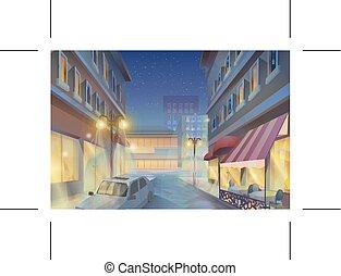 Night city illustration