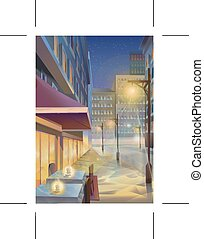 Night city, illustration