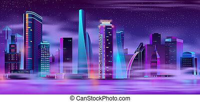 Night city in fog urban background