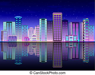 Night city in lights skyline with multistorey buildings standing on river bank and reflection.