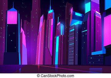 Night city in neon lights. Futuristic cityscape