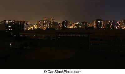 Night city in storm