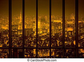 Night city in the yellow tone