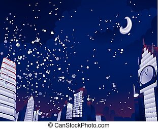 Night city landscape Vector illustration