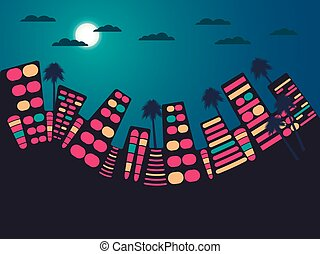 Night city landscape. Vector