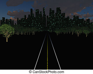 Night city landscape with road