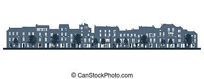 night city life on a street facade background - illustration...