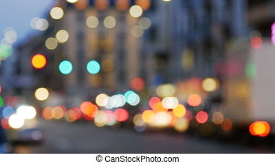 Night city lights and traffic background.