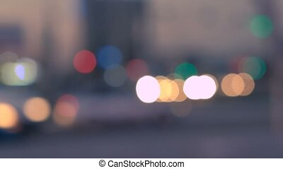 Night city lights and traffic background. Out of focus,...