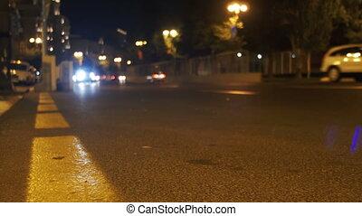 Night City Lights and Traffic Background - AZERBAIJAN, BAKU,...