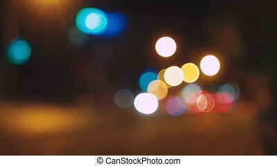 Night city lights blurred