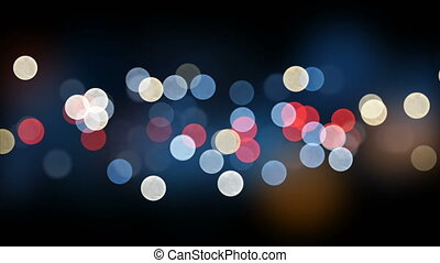 Night City Lights Bokeh Beautiful Backdrop Seamless. Looped 3d Animation of Colorful Blinking Lights in DOF Blur. 4k Ultra HD 3840x2160