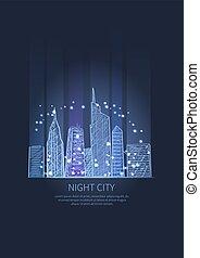 Night City Lights Icon Vector illustration