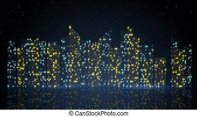 night city lights loopable animation - night city lights....