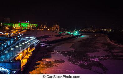 night city lights waterfront views