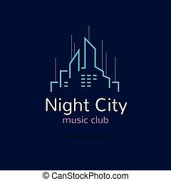 Night city logo. Vector city skyline logotype.
