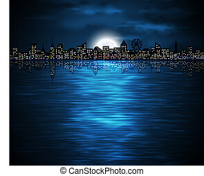 Night city - Night view of city on the coast with rising...
