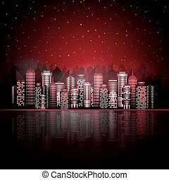 Night city on the water