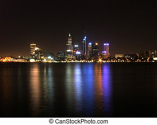 night city - Perth city at night with lights reflecting in ...