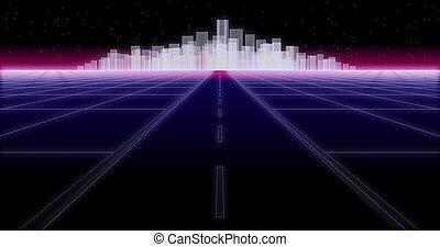 night city road 80 Retro Background 3d render