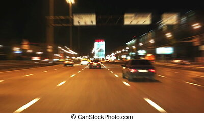 Night city road. Fast motion effect.