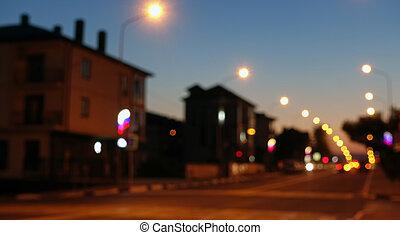 Night city scene, road, defocused background.