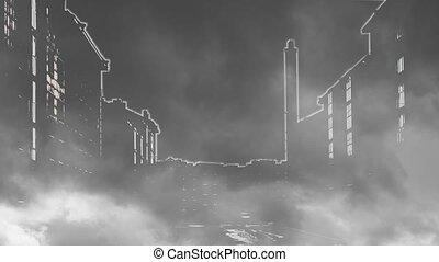 Night city shrouded in smoke