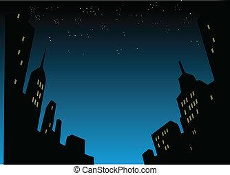 Night City Skyline Background - Graphic Style Cartoon Night...